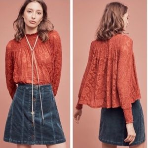 Anthropologie Deletta Amanna smocked lace blouse